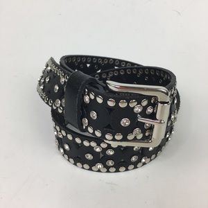 "BCBG Maxazria Leather Black studded belt M 36"""